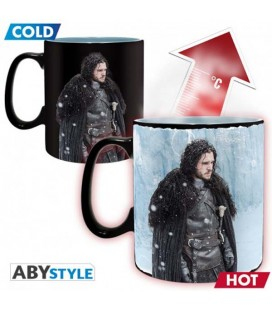 "GAME OF THRONES - MUG HEAT CHANGE/TAZZA TERMICA - KING SIZE 460 ML - ""JON SNOW & WINTER IS HERE"""