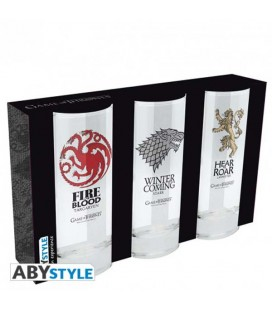 "GAME OF THRONES - 3 SET GLASSES/BICCHIERI ""EMBELEMI"""