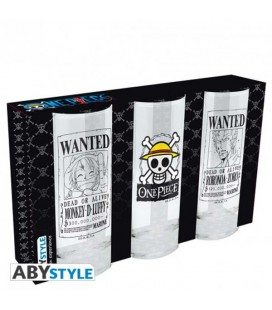 One Piece - Abystyle - Set da 3 Bicchieri - Glass Set 3 Pcs - Vetro - 290 Ml - 14 Cm
