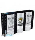 One Piece - Abystyle - Set da 3 Bicchieri - Glass Set 3 Pcs - Vetro - 290 Ml - 14 Cm