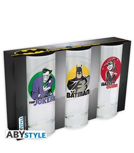 Batman - Abystyle - 3 Glass Set - Set Di Bicchieri - 3 Pz. Batman - Joker - Harley Quinn - 29 Cl - 14 X 6 Cm