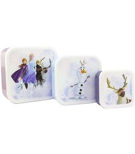 Frozen 2 - Paladone - Set 3 Box - Snack - Set Per Alimenti - Anna - Elsa - Olaf - Pvc - 13,5 X 6,5 Cm