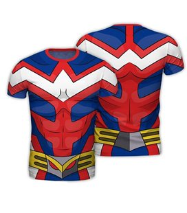 Abystyle - My Hero Academia - Size S - Replica T-Shirt - All Might - Rosso & Blu - Uomo - Cosplay