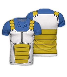 Abystyle - Dragon Ball - Size M - Replica T-Shirt - Vegeta - Giallo E Azzurro - Uomo - Saiyan - Cosplay