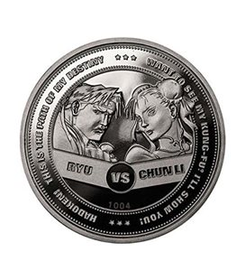 Iron Gut Publishing Street Fighter Collectable Coin 30Th Anniversary Ryu Vs Chun-Li (Silver Plated)