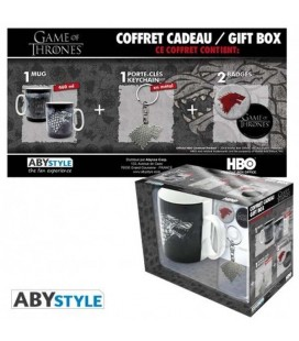 GAME OF THRONES - GIFT BOX - MUG/TAZZA + KEYRING/PORTACHIAVI + BADGES/SPILLE - STARK