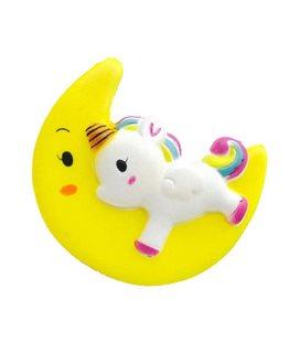 Pidak Shop - Soft Squishy Unicorno Sulla Luna/Unicorn On The Moon Gialla/Yellow 12X10X8Cm