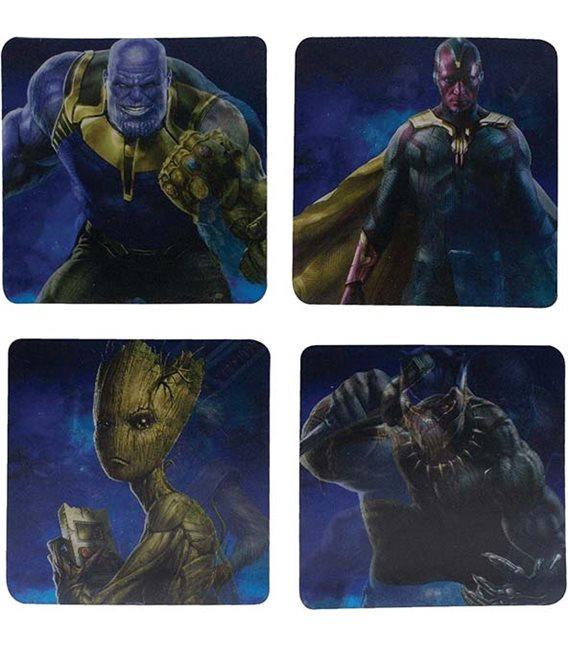 Marvel - Metal Coasters/Sottobicchieri Metallici - Set 4 Pcs Avengers Infinity War