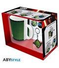 Star Wars - Gift Box - Mug/Tazza King Size 460Ml + Portachiavi/Key Ring + Badges/Spille Yoda