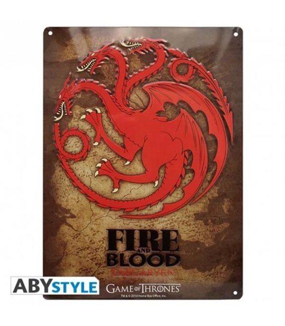 Game Of Thrones - Placca In Metallo/Metal Plate - Targaryen