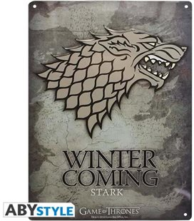 Game Of Thrones - Placca In Metallo/Metal Plate - Stark