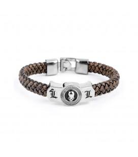 """Bracciale/bracelet del Libro della Morte Intrecciato con Inserto Inciso a forma di """"L"""" e Teschio - Pidak Shop"""