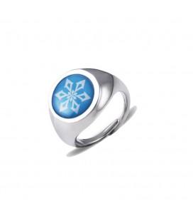 Anello Argentato dell'Elemento del Ghiaccio con Pietra Azzurra e Simbolo Bianco - Pidak Shop