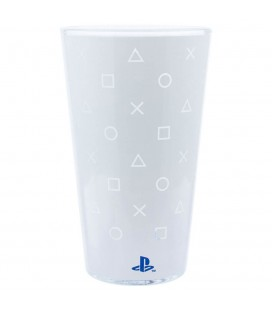Bicchiere PlayStation 5 con Sfondo Bianco e Simboli Iconici Trasparenti - Paladone Products