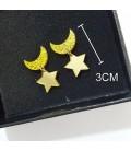 Orecchini cosplay di sailor moon con luna e stelle color oro