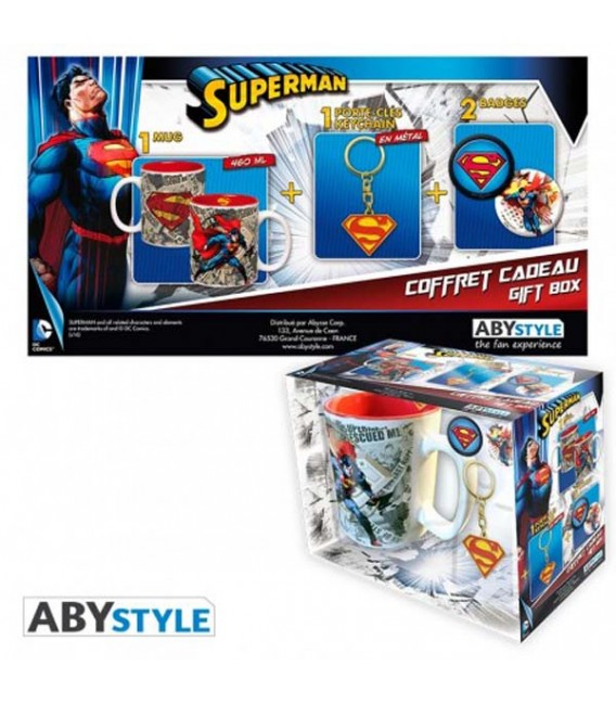 "DC COMICS - GIFT BOX - MUG/TAZZA KING SIZE 460ML + KEYRING/PORTACHIAVI + BADGES/SPIELLE - ""SUPERMAN"""