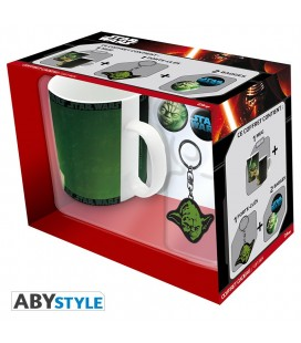 "STAR WARS - GIFT BOX - MUG/TAZZA KING SIZE 460ML + PORTACHIAVI/KEY RING + BADGES/SPILLE ""YODA"""