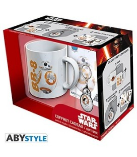 "STAR WARS - GIFT BOX - MUG/TAZZA KING SIZE 460ML + PORTACHIAVI/KEY RING + STCKIER ""BB8"""
