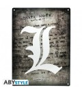 "DEATH NOTE - METAL PLATE /PLACCA IN METALLO - EMBLEMA/EMBLEM ""L"""