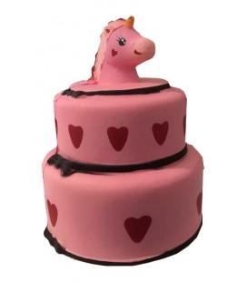 """PIDAK SHOP - SOFT SQUISHY """"TORTA DI COMPLEANNO UNICORNO/UNICORN BIRTHDAY CAKE - PINK 15CM"""""""