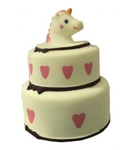 """PIDAK SHOP - SOFT SQUISHY """"TORTA DI COMPLEANNO UNICORNO/UNICORN BIRTHDAY CAKE - WHITE 15CM"""""""