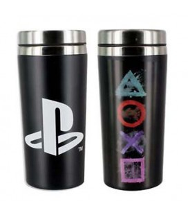 Paladone - Playstation - Travel Mug - Tazza da Viaggio - Metallo - 450 Ml - 18 cm