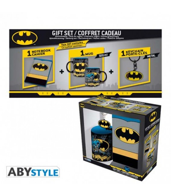 DC COMICS - GIFT BOX - MUG/TAZZA 320ML + PORTACHIAVI/KEYRING +NOTEBOOK BATMAN