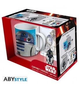 "STAR WARS - GIFT BOX - MUG/TAZZA KING SIZE 460ML + PORTACHIAVI/KEY RING + STCKIER ""R2D2"""