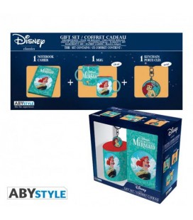 "DISNEY - GIFT BOX -TAZZA/MUG320ML + PORTACHIAVI/KEYRING + NOTEBOOK ""LITTLE MERMAID"""
