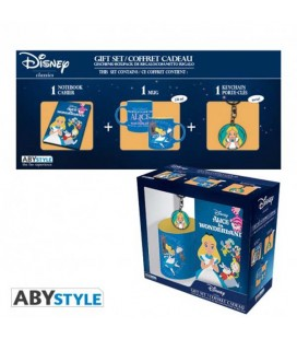 "DISNEY - GIFT BOX - MUG/TAZZA 320ML + PORTACHIAVI/KEYRING + NOTEBOOK ""ALICE"""