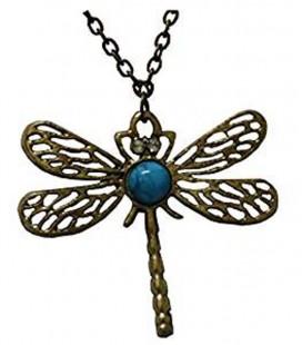 Collana con libellula e pietra celeste - Pidak Shop