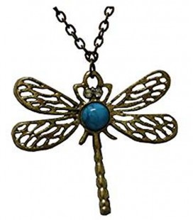 "PIDAK SHOP - NECKLACE/COLLANA ""LIBELLULA E PIETRA CELESTE/DRAGONFLY AND BLUE STONE"""