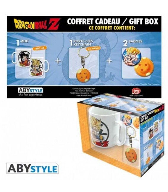 "DRAGON BALL - GIFT BOX - MUG/TAZZA KING SIZE 460ML + KEYRING/PORTACHIAVI + BADGES/SPILLE ""GOKU"""