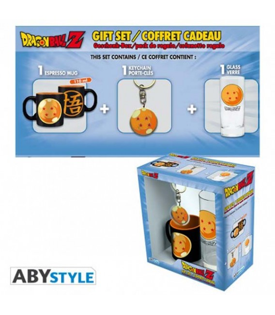 "DRAGON BALL -GIFT BOX - GLASS/BICCHIERE 29CL + KEYRING/PORTACHIAVI + MINI MUG/TAZZA ""CRYSTAL BALL"""