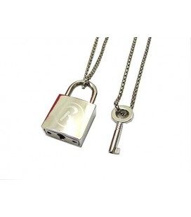 "PIDAK SHOP - NECKLACE/COLLANA ""PADLOCK WITH KEY/LUCCHETTO CON CHIAVE"" 6 CM"