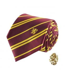 Cinereplicas - Harry Potter - Cravatta con Spilla - Edizione Deluxe - Licenza Ufficiale - Casa Grifondoro - Taglia Unica – 100
