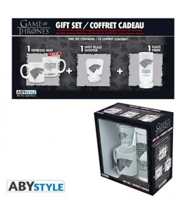 "GAME OF THRONES - GIFT BOX - GLASS/BICCHIERE 29CL + SHOT + MINI MUG/TAZZA ""STARK"""