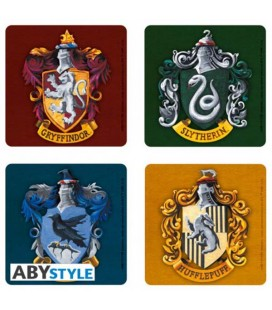 "HARRY POTTER - SET 4 SOTTOBICCHIERI/COASTERS ""4 CASE/HOUSES"""