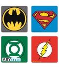 """DC COMICS - SET 4 SOTTOBICHIERI/COASTERS """"EMBLEM/EMBLEMI"""""""