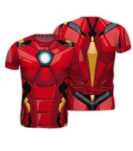 ABYstyle - Iron Man - Size L - T-Shirt Replica - Rosso e Nero - Uomo - Marvel - Cosplay