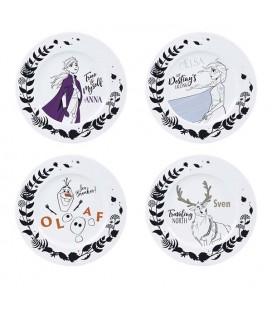 Set di 4 Piatti - Frozen 2 Heroes: Anna, Elsa, Olaf, Sven - Abystyle