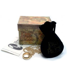 Medioevo - Il Signore Degli Anelli - L'Unico Anello The One Ring - Scritta Oro Su Oro Piccolo 18 Mm.