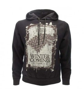 Cid - Felpa Game Of Thrones Nero Winter is coming House Stark con cappuccio - Taglia XS