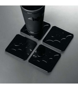 BATMAN METAL COASTERS - SOTTOBICCHIERI METALLICI - SET 4 PC - 1X9X9 CM