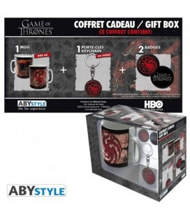 "GAME OF THRONES - GIFT BOX - MUG/TAZZA 320ML + KEYRING/PORTACHIAVI + BADGES/SPILLE ""TARGARYEN"""