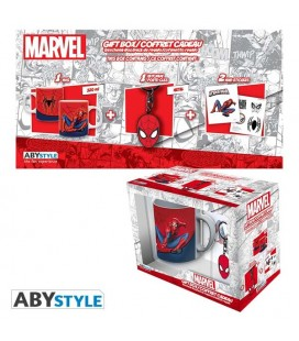 "MARVEL - GIFT BOX - MUG/TAZZA 320ML + KEYRING/PORTACHIAVI + STICKER ""SPIDERMAN"""