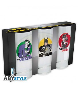 Batman - Abystyle - 3 Glass Set - Set di Bicchieri - 3 pz. Batman - Joker - Harley Quinn - 29 Cl - 14 x 6 Cm