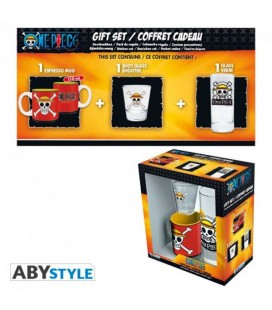 "ONE PIECE - GIFT BOX - GLASS/BICCHIERE 29CL + SHOT + MINI MUG/TAZZA ""SKULL LUFFY"""