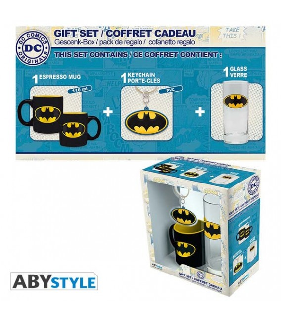 "DC COMICS - GIFT BOX - GLASS/BICCHIERE 29CL + PORTACHIAVI/KEYRING PVC + MINI MUG/TAZZA - ""BATMAN"""