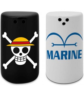 ABYstyle - Manga - One Piece - Salt Pepper - Saliera & Pepiera - Luffy Skull - Marine - Ceramica - Set 2 Pcs